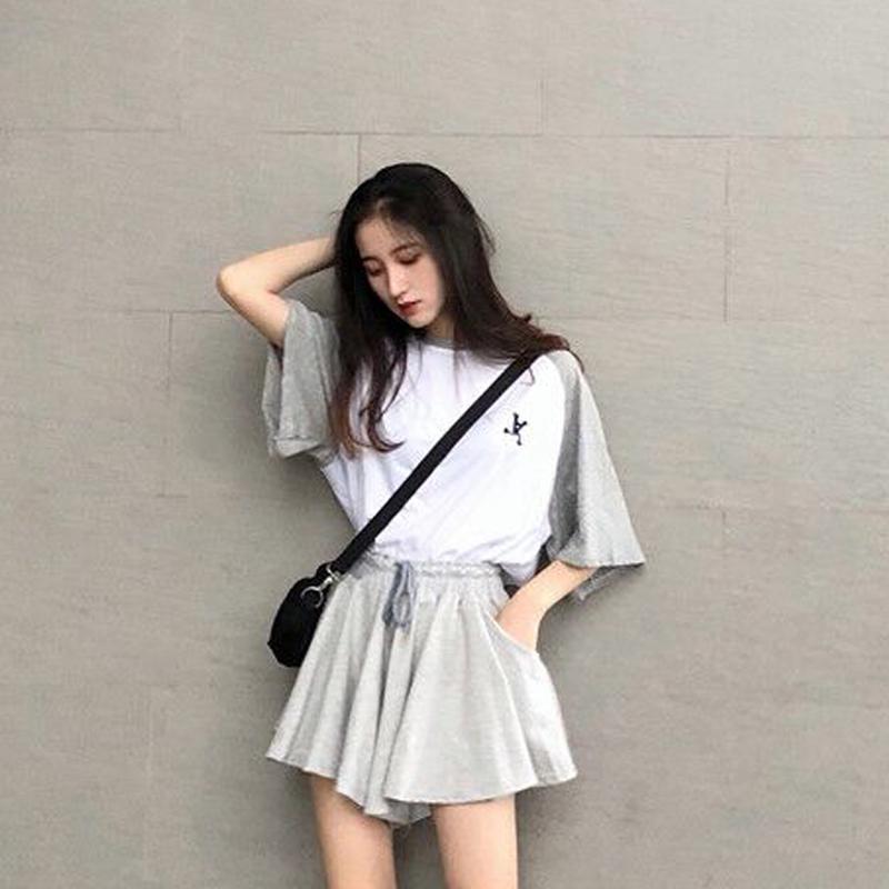 时尚套装女夏2019新款韩版短款上衣+不规则高腰阔腿裤裙裤两件套
