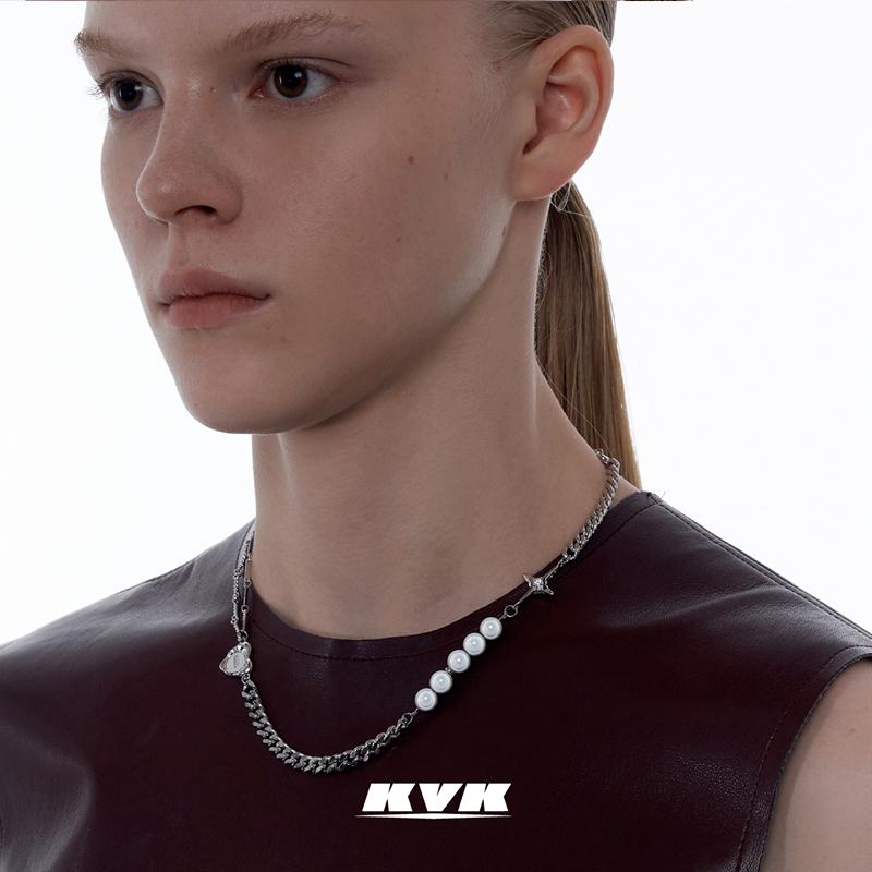 网红饰品 ins 新款潮高级感小众设计感 2021 拼接项链女锁骨链 KVK