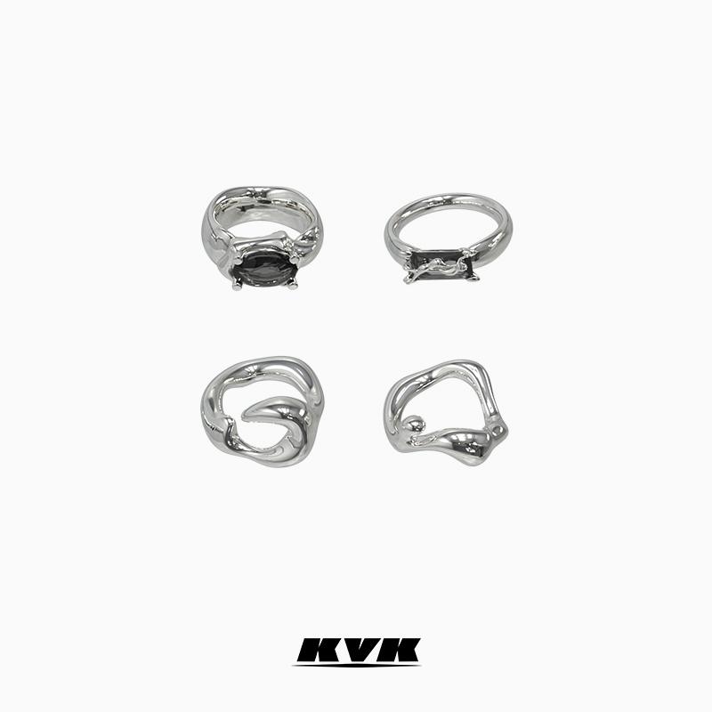 小众设计简约冷淡风毒蚀组合戒指套戒简约百搭戒指 纯银戒指女 KVK