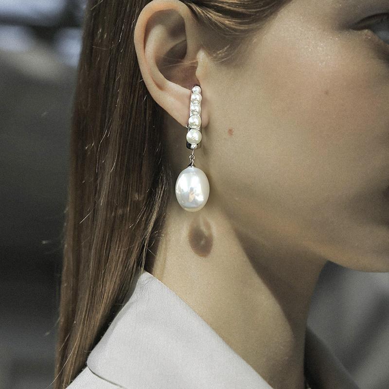 珍珠耳环简约高级设计感耳钉冷淡风个姓气质耳挂耳饰品耳坠 KVK