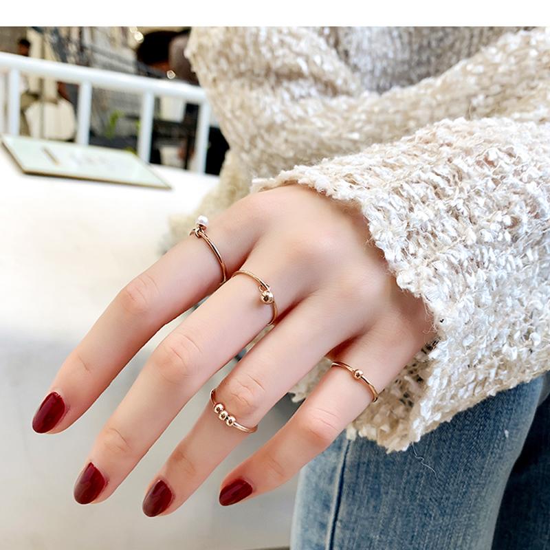 韩京钛钢韩版混搭珍珠小圆球镀玫瑰金指环戒指女小指尾戒套装饰品