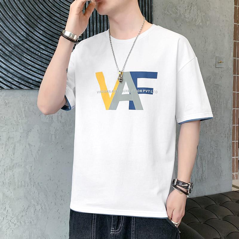 青少年夏季短袖t恤男潮牌纯棉半袖体恤初中高中学生潮流夏装上衣主图