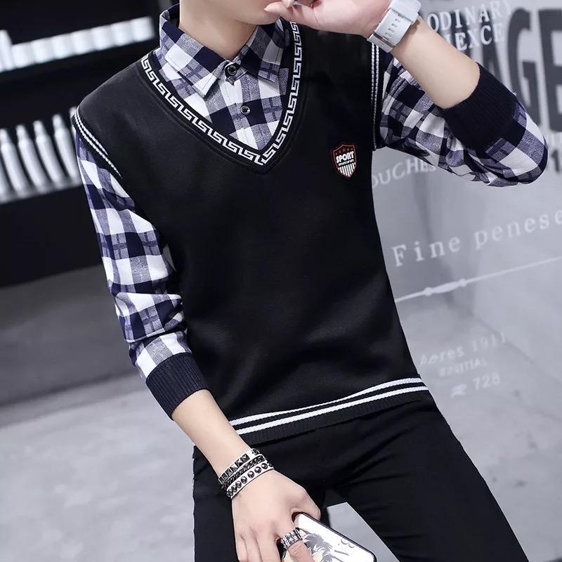 秋季毛衣男士韩版假两件衬衫领加绒秋装保暖带领针织衫假领毛线衣