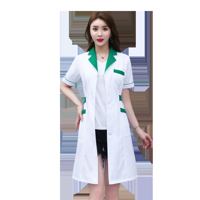 白大褂长袖医生服女美容院纹绣师要店要房工作服短袖衣实验护士服
