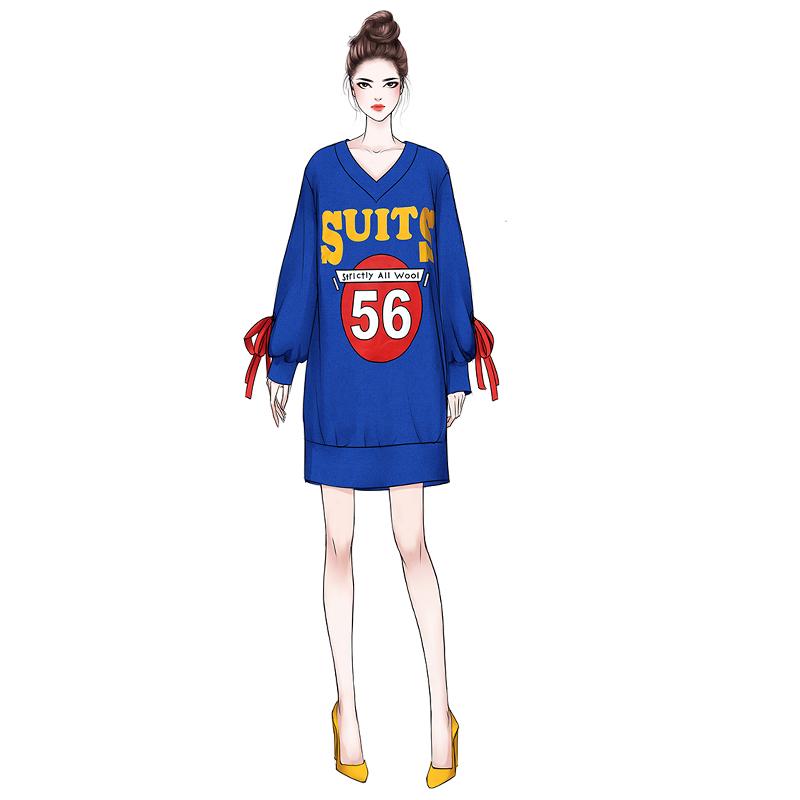 卫衣连衣裙2018秋装冬季新款韩版加绒加厚法式少女气质长袖茶歇裙