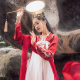 Han Shanghualian drunk red makeup original authentic Hanfu women's Tang Dynasty heavy industry koi embroidered high waist multi-piece big swing skirt