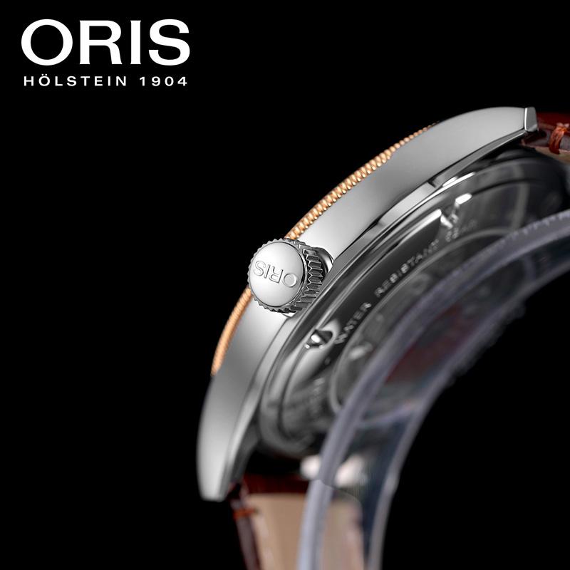豪利时ORIS文化系列CLASSIC DATE男士银盘皮带经典日历腕表