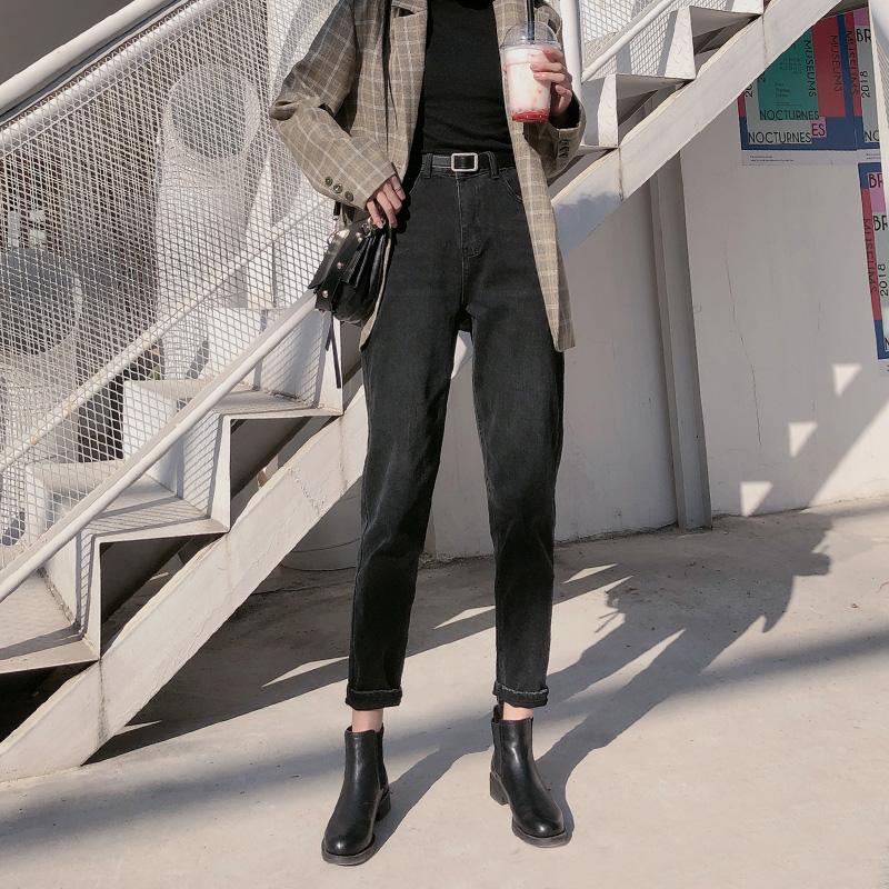 牛仔裤女2020新款春装百搭哈伦宽松高腰显瘦阔腿直筒萝卜老爹裤子