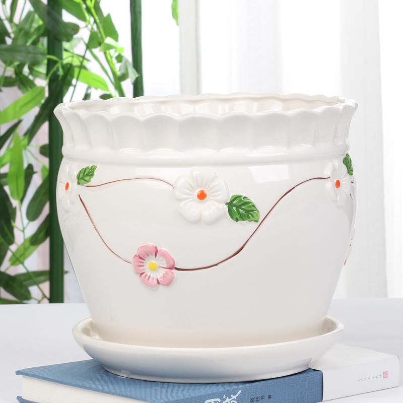 花盆陶瓷批发带托盘特大码号简约塑料室内创意吊兰绿萝多肉花盆价