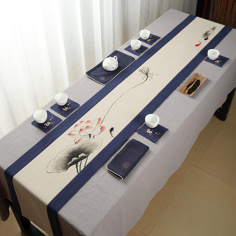 手绘茶席桌旗中式禅意布艺亚麻茶旗干泡垫茶道素雅中国风定制包邮