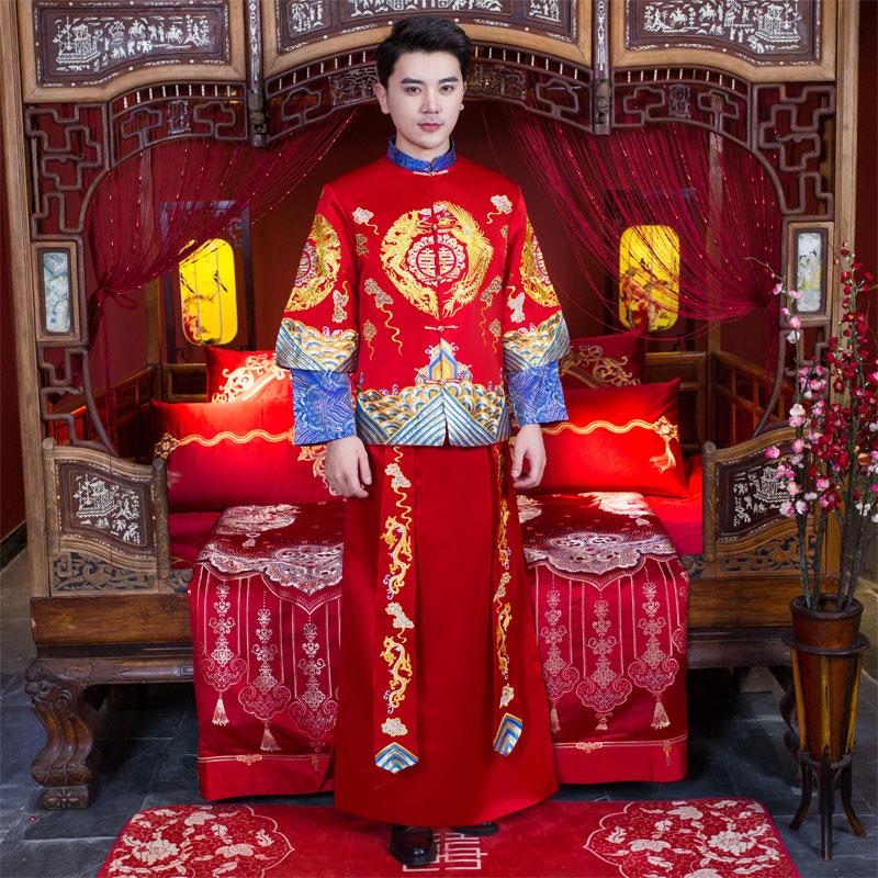 男秀禾服2020新款结婚中式礼服新郎龙凤褂唐装大码男士秀和服春季