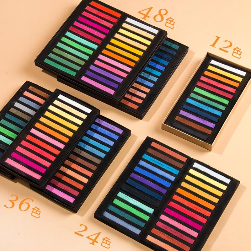 马利色粉笔48色36色24色彩色粉笔颜料彩绘色粉手绘专业绘画马力画画套装初学者粉彩棒画笔黑板报美术用品工具