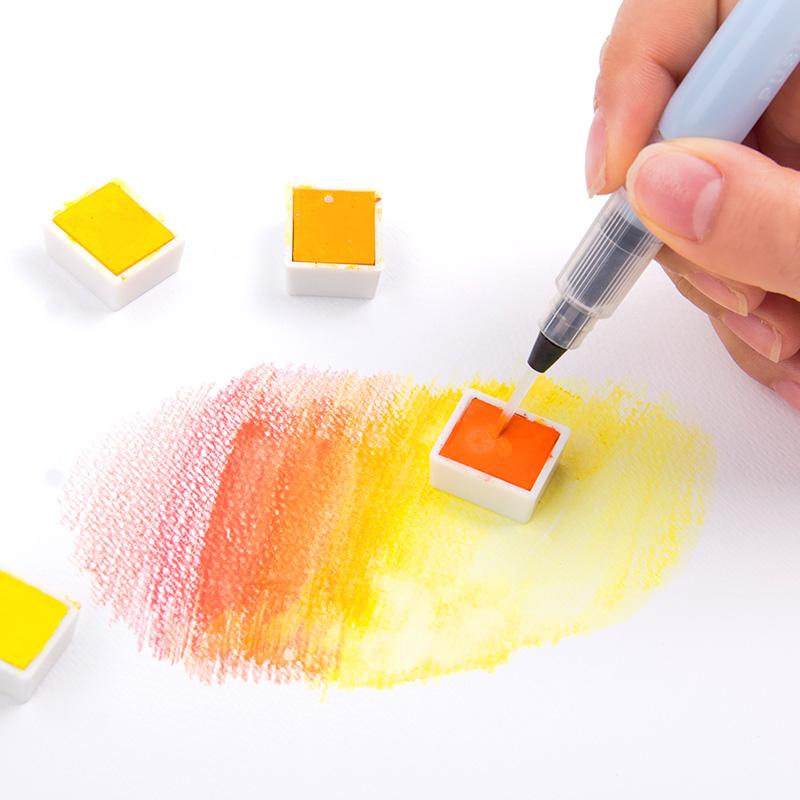 日本樱花自来水笔套装初学者储水毛笔软头水彩毛笔水溶彩铅固体水彩颜料画笔勾线笔