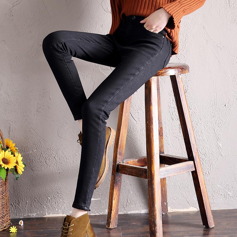 网红牛仔裤女高腰2019新款秋冬显瘦怪味少女裤直筒加绒加厚黑色裤