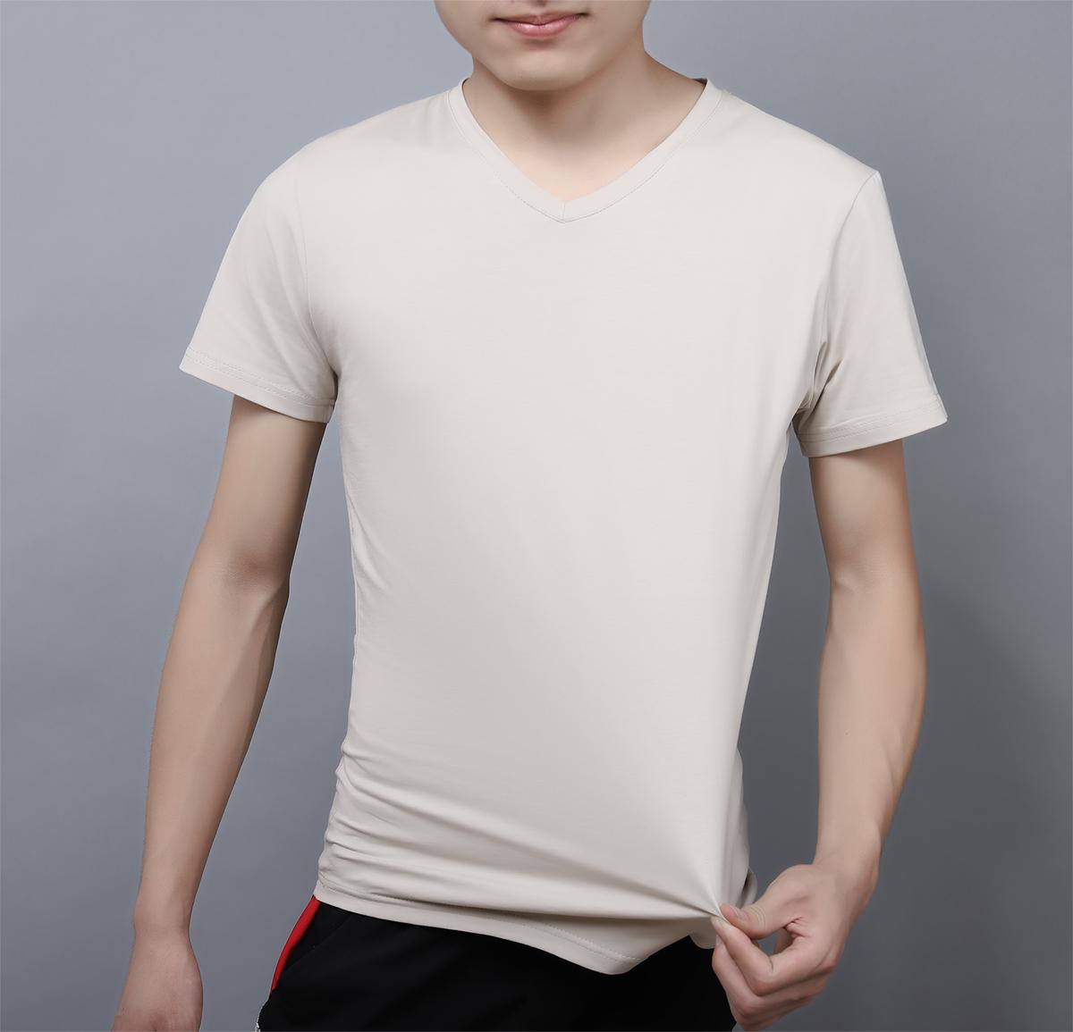 丝光纯棉t恤男中年短袖鸡心v领爸爸夏装上衣服潮流冰丝半截袖男装
