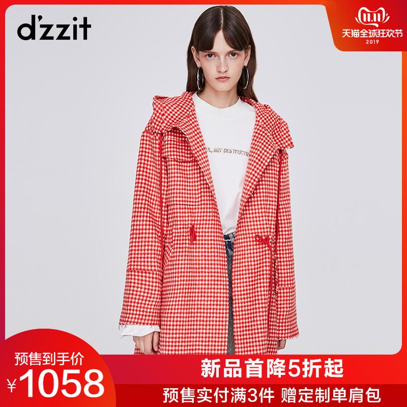 dzzit地素 19春装新款格子连帽收腰毛边呢子大衣外套女3G1G2043H thumbnail