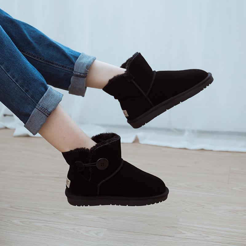 新款纽扣真牛皮雪地靴女皮毛一体防滑加绒女鞋短筒靴子百搭女棉鞋