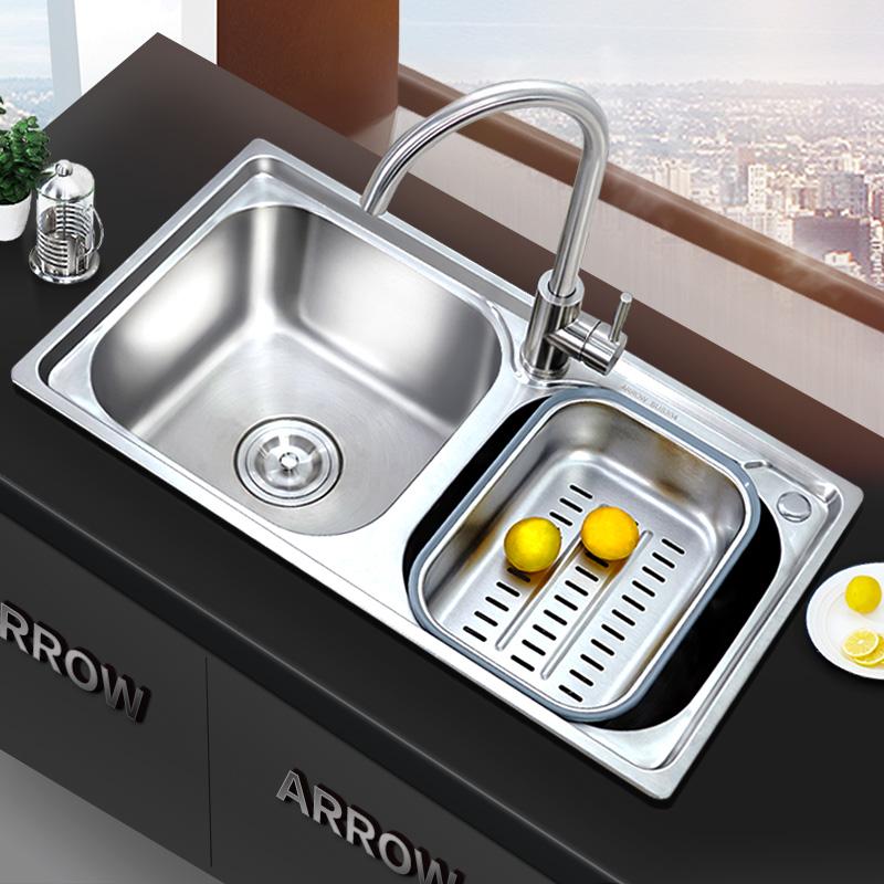 箭牌水槽双槽套餐加厚304不锈钢厨房家用菜盆洗碗盆水池带滤水篮