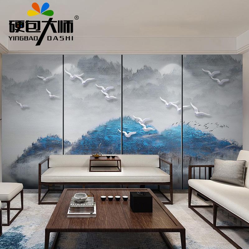 定制新中式壁画客厅硬包背景墙山水水墨软包电视沙发床头餐厅酒店