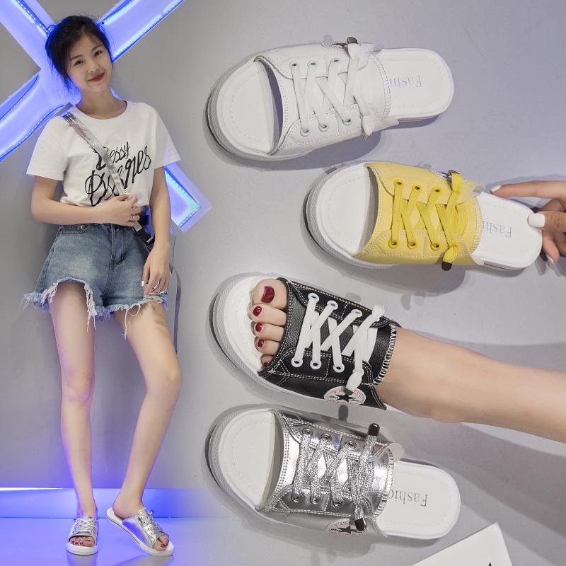 夏季休闲韩版帆布鞋牛仔布系带凉鞋拖无后跟拖鞋平底一字拖潮 2019