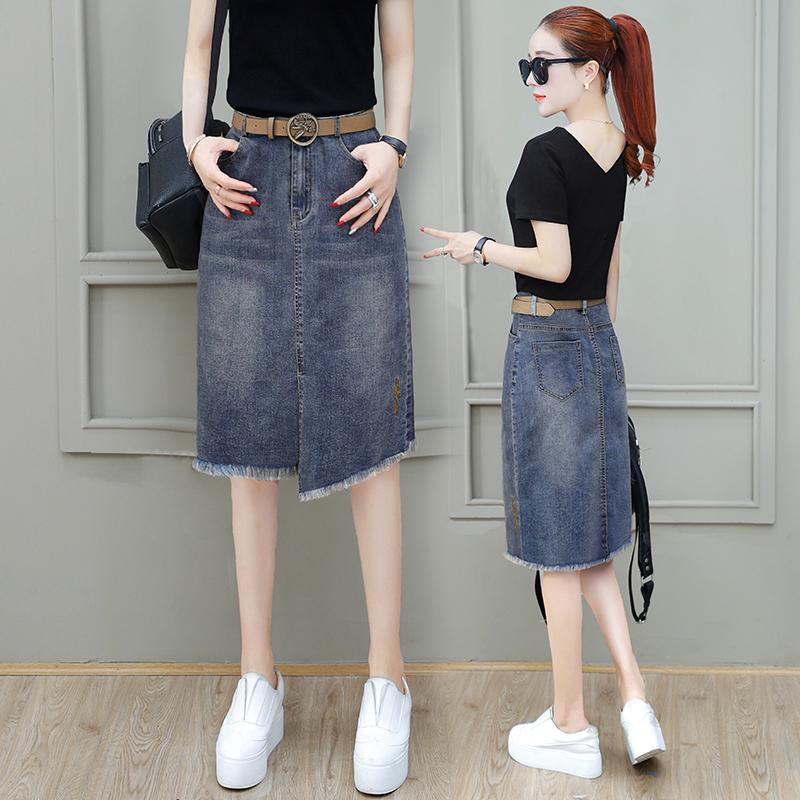 牛仔裙女2020新款夏季包臀裙中长款裙子过膝不规则牛仔半身裙套装