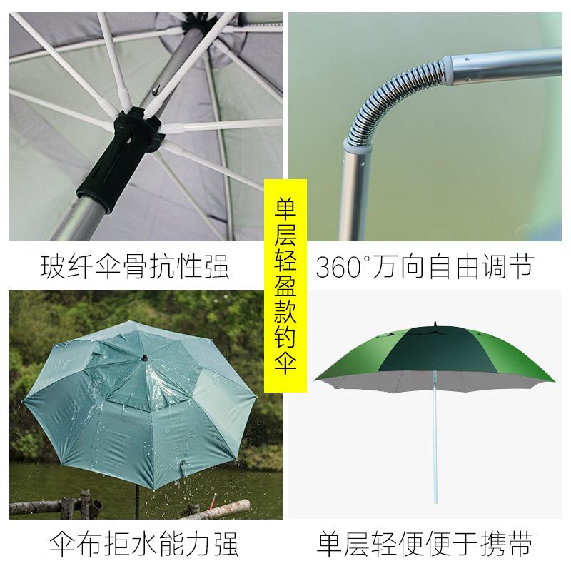 江南钓者钓鱼伞大钓伞2.2米万向防雨2.4米加厚三折叠遮阳垂钓渔伞