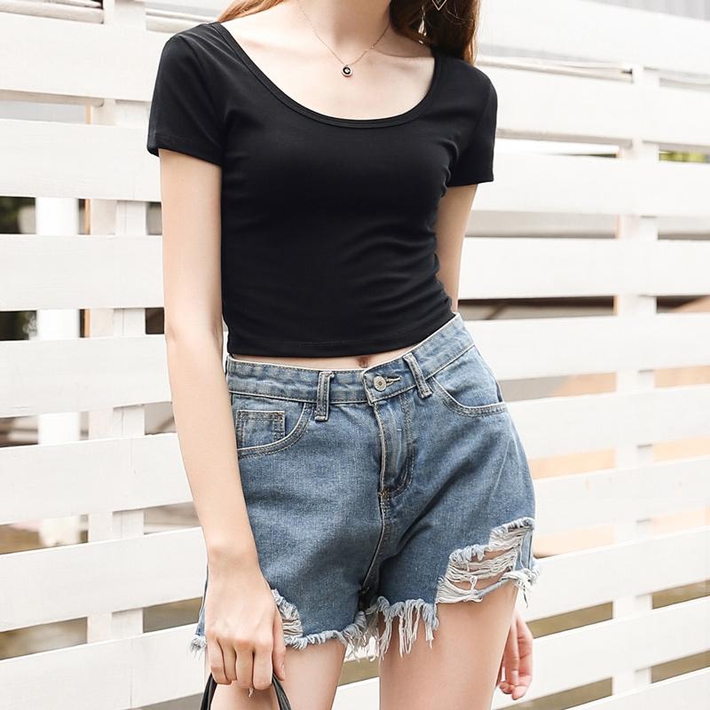 漏肚脐上衣女性感紧身高腰露脐短款心机设计感短袖t恤夏打底衫潮主图