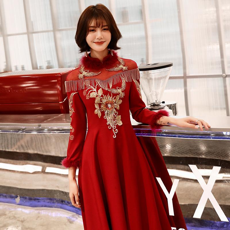 敬酒服新娘2018结婚新款冬季旗袍中式加厚秀禾婚纱红色礼服女长款