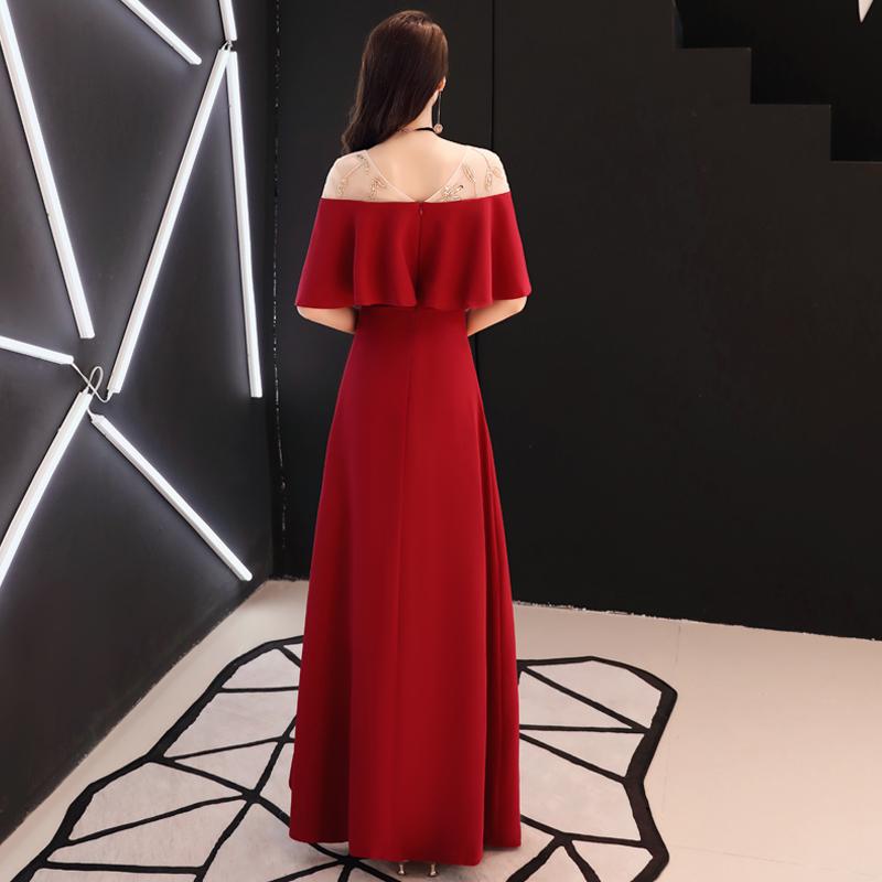 新娘敬酒服长款2019新款夏季一字肩答谢宴回门红色结婚礼服订婚女
