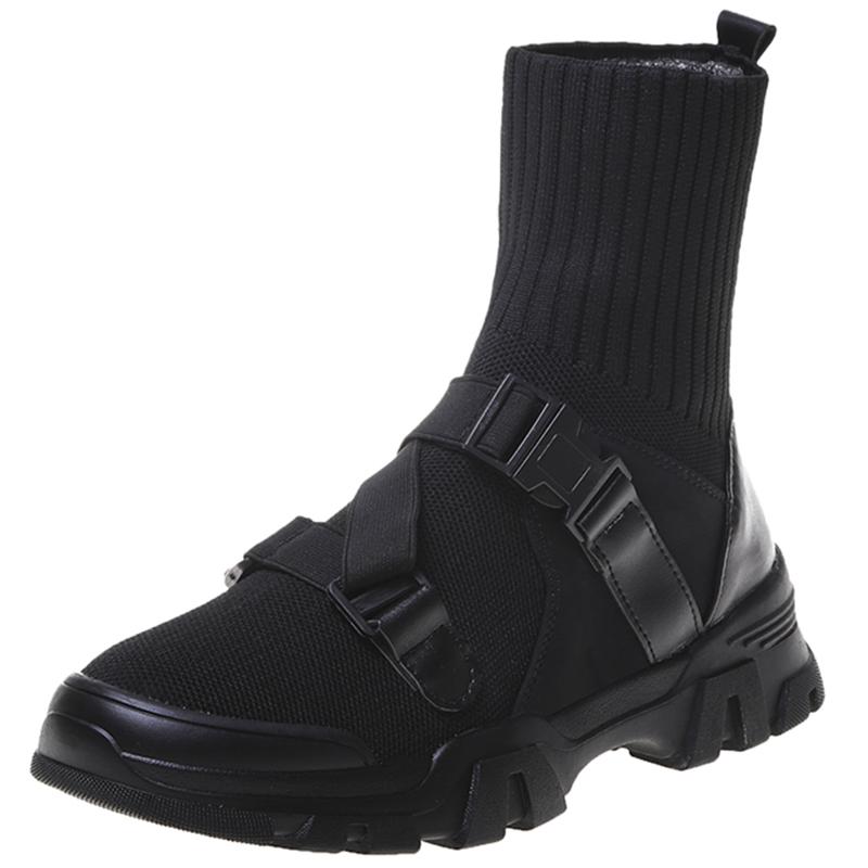马丁靴女2021新款百搭春秋针织网红瘦瘦靴暗黑袜子鞋短筒时装短靴