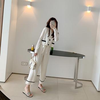 坠感阔腿裤套装2020春季新款御姐小香风针织开衫九分裤洋气两件套