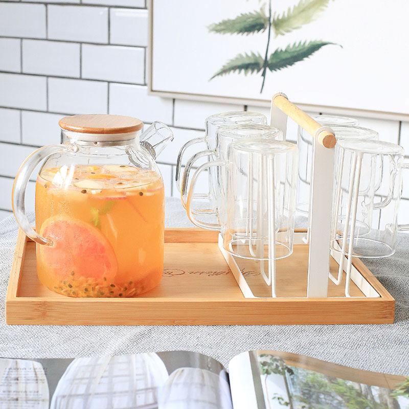 创意家用收纳杯子架 沥水置物架杯架水杯架 托盘玻璃水杯挂架