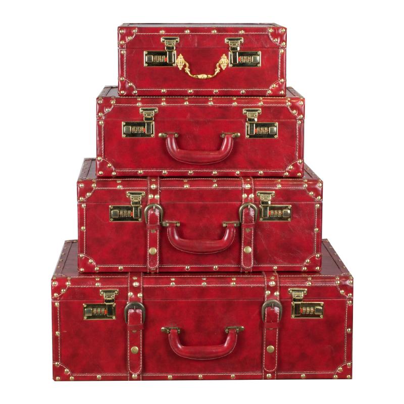 陪嫁箱红色结婚箱子复古嫁妆箱皮箱新娘礼金箱密码箱手提箱旅行箱