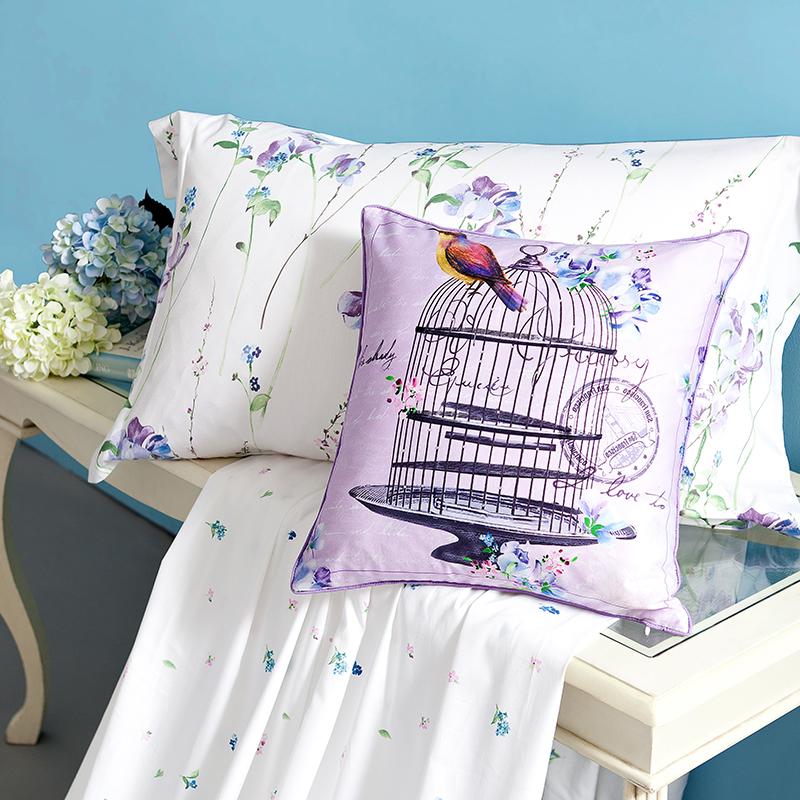 梦洁出品MEE印花全棉纯棉四件套床单被套床上用品1.5米1.8m 花溪