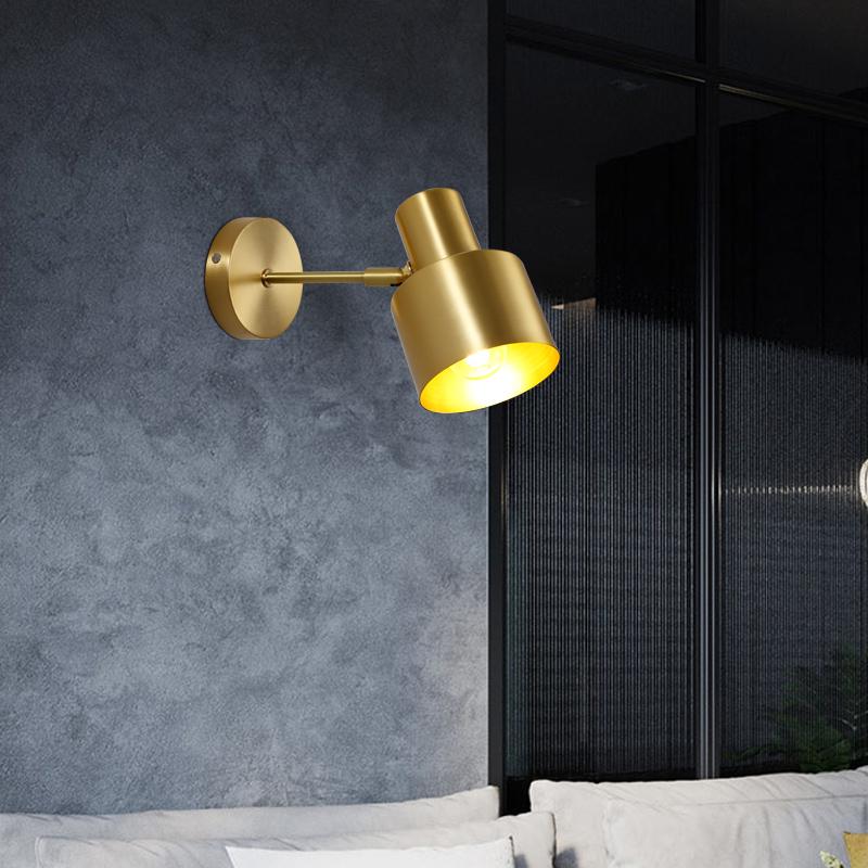 鹿家良品北欧风简约创意网红全铜壁灯镜前灯过道客厅卧室床头壁灯