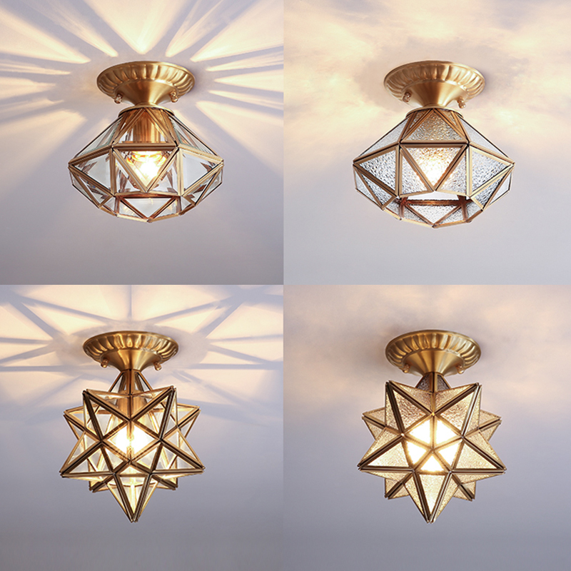 鹿家良品北欧风网红星星灯简约现代明装过道走廊玄关阳台吸顶灯具