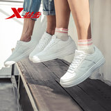 Xtep men's shoes winter 2019 new Air Force One couple influx of women white shoes plus velvet casual sports shoes