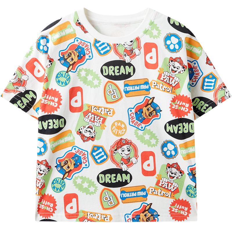 汪汪队衣服儿童T恤男童纯棉短袖2021新款夏装男宝宝印花半袖童装