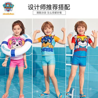 汪汪队儿童泳衣男童分体泳装2021新款卡通女宝游泳泡温泉套装男孩