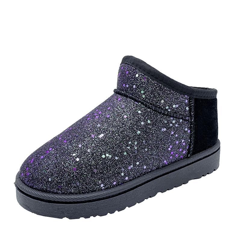 新款时尚百搭棉鞋冬季加绒短靴 2020 雪地靴女短筒加厚一脚蹬面包鞋