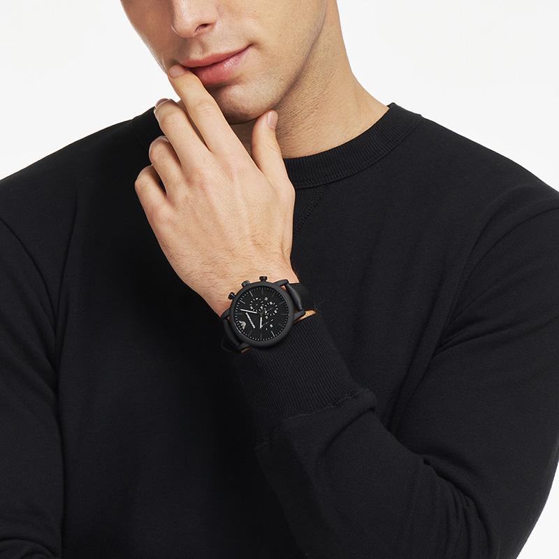 【官方】Armani阿玛尼正品黑色石英表 多功能男士运动手表AR1970