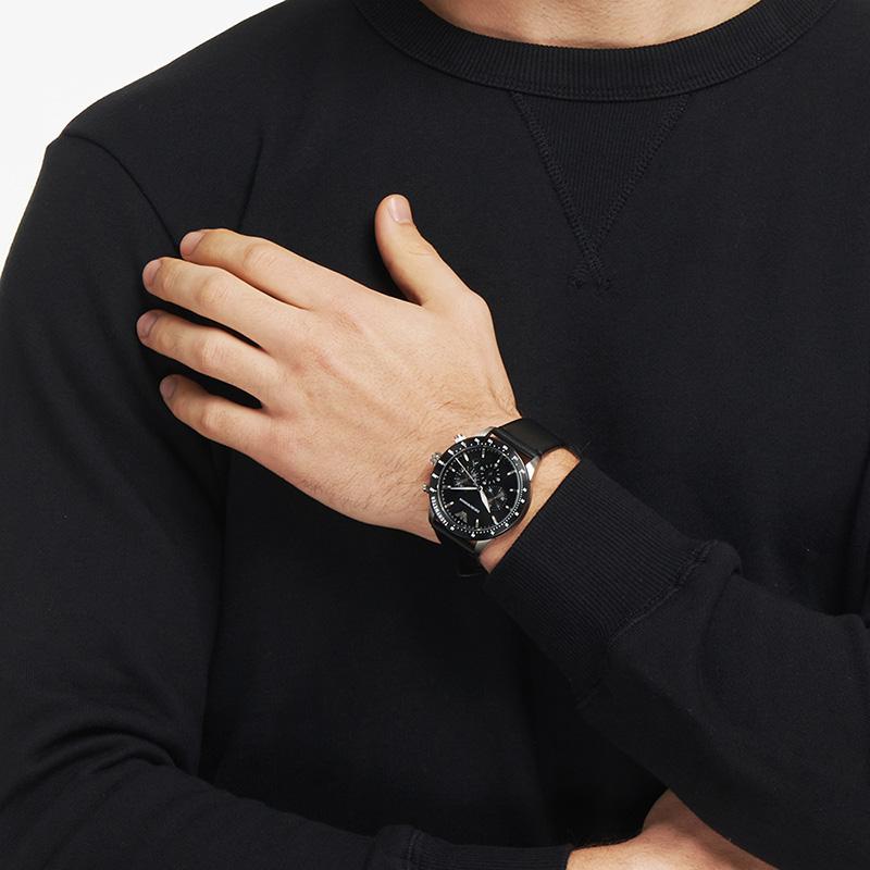 Armani阿玛尼官方正品潮流时尚石英手表男 黑表盘防水皮带AR11243