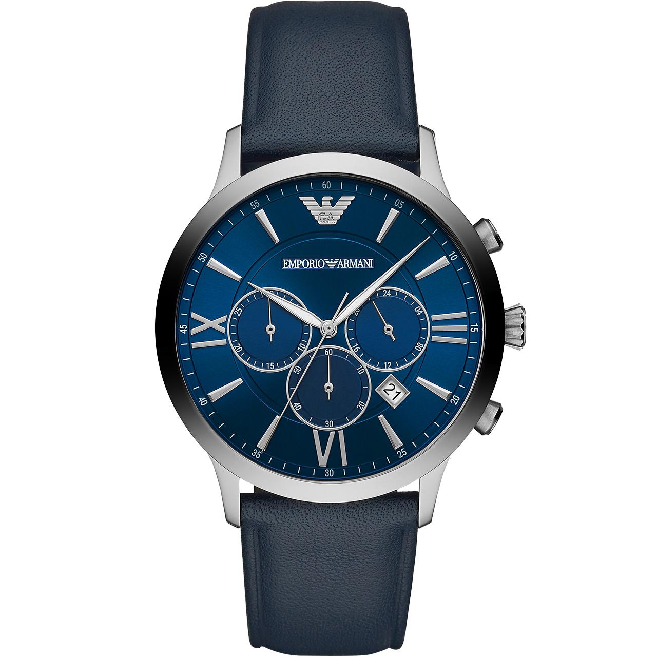 Armani阿玛尼官方正品蓝色表盘皮带手表男潮 时尚石英腕表AR11226