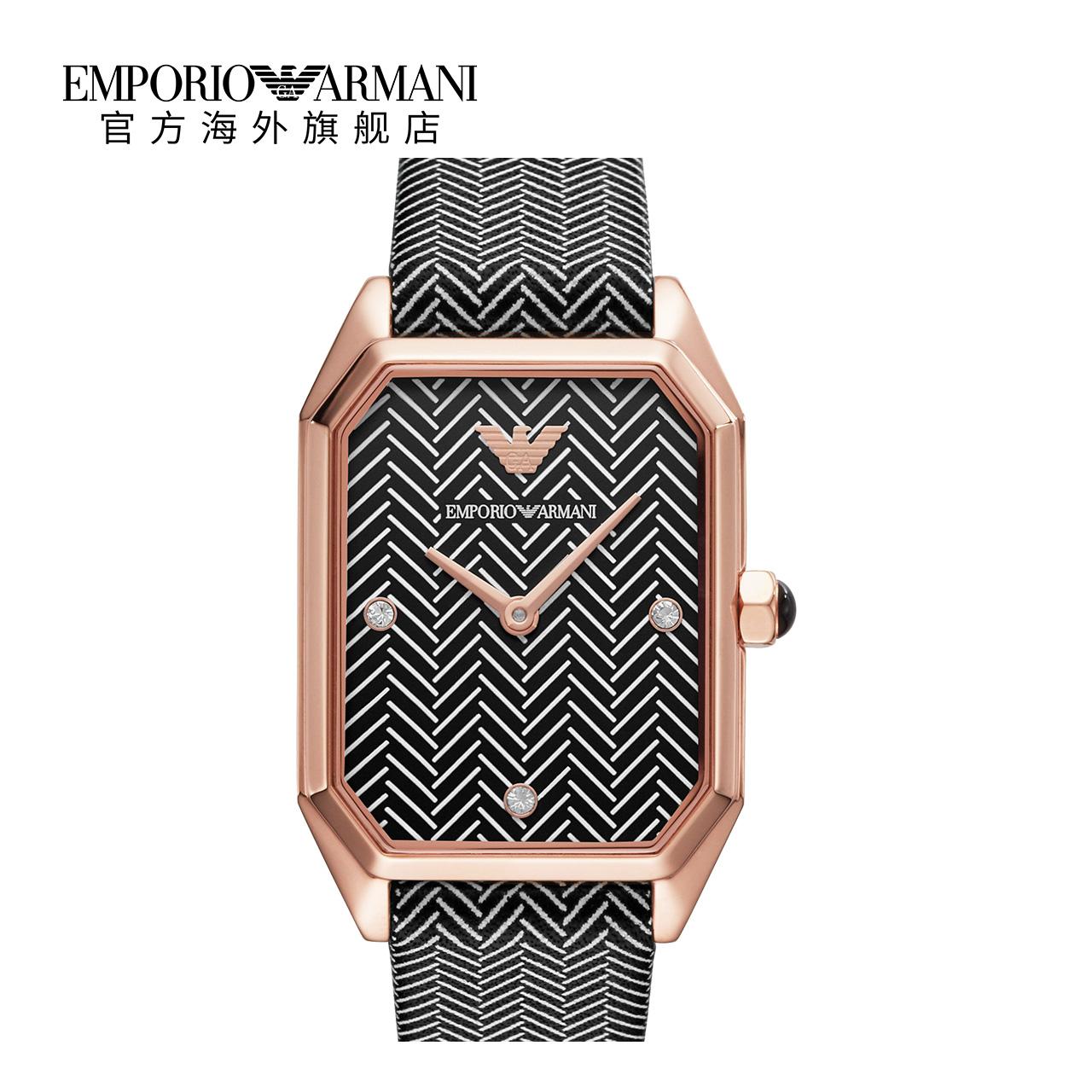 Armani阿玛尼正品时尚气质 潮流方表盘防水皮带手表女AR11249