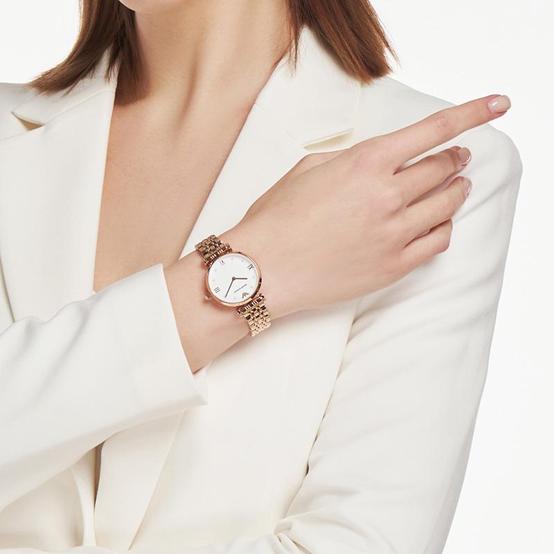 【官方】Armani阿玛尼新款简约手表女 优雅玫瑰金石英腕表AR11267