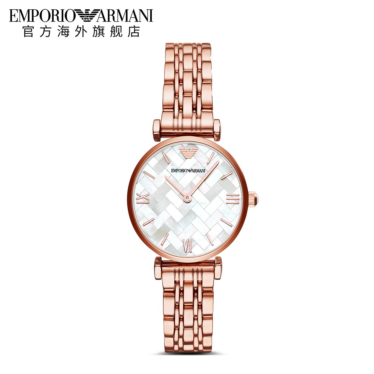 【正品】Armani阿玛尼简约优雅玫瑰金时尚钢带手表女AR11110