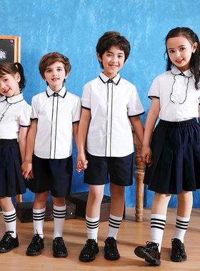 澜洋贝贝英伦风校服套装初高中学生白色短袖衬衫白衬衣短裤短裙子