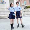中小学生英伦学院风校服儿童蓝格子短袖套装班服幼儿园园服毕业照