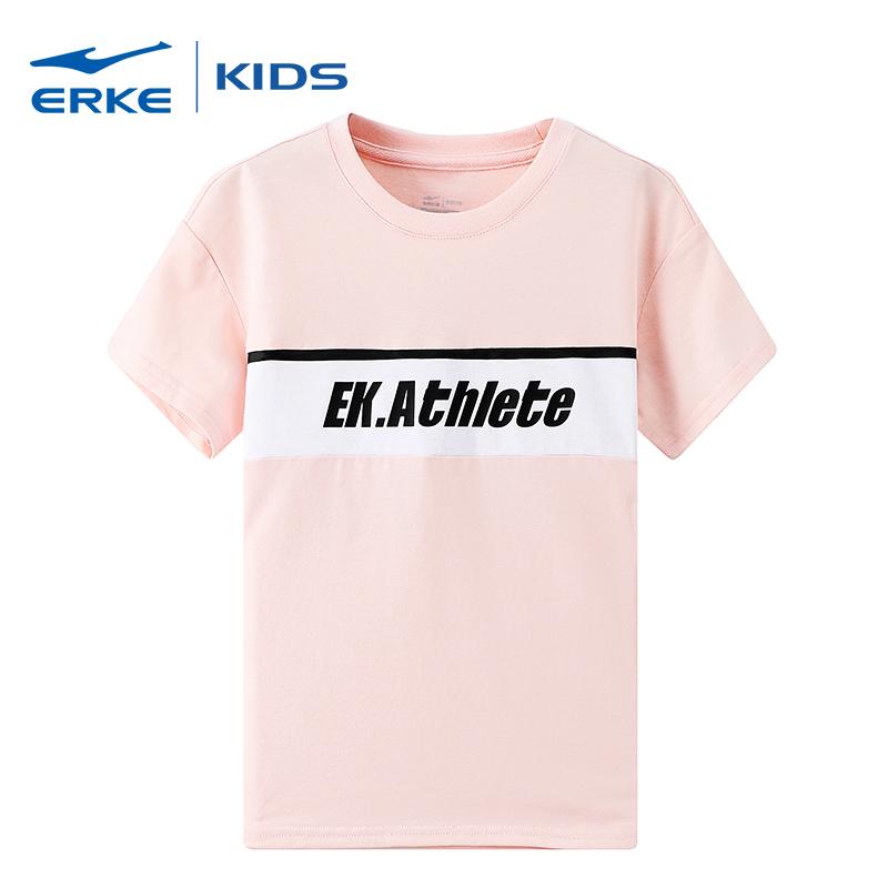 鸿星尔克erke新款夏季女童圆领上衣儿童运动短袖T恤纯棉短袖童装