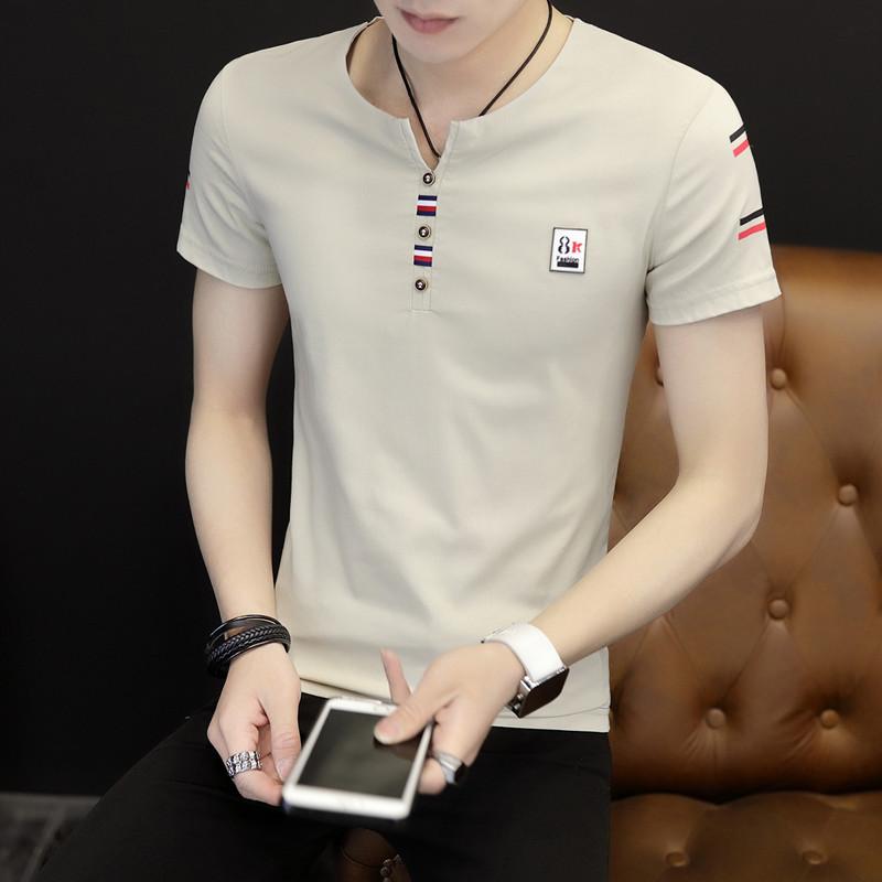 领青年韩版潮流修身体恤夏季半袖上衣服男装 V 恤男士新款 T 夏装短袖